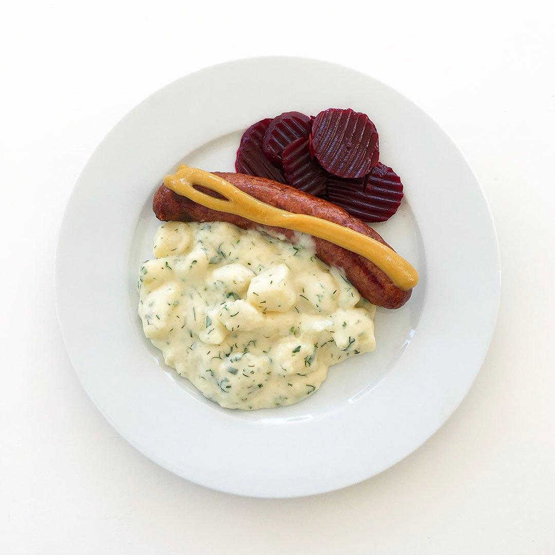 Isterband med stuvad potatis.