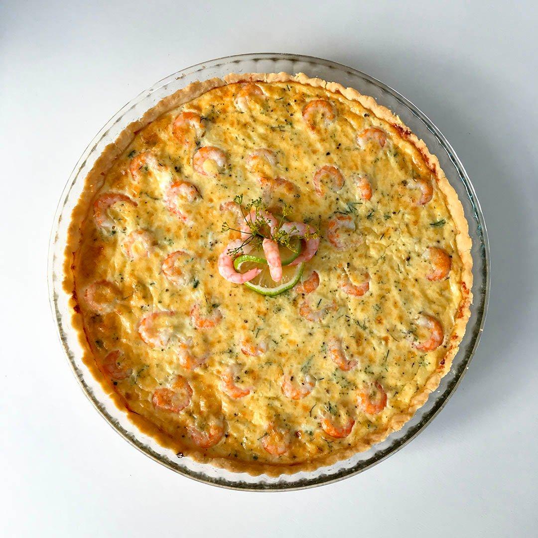 Räkpaj med dill - Recept på paj med skaldjur från havet.