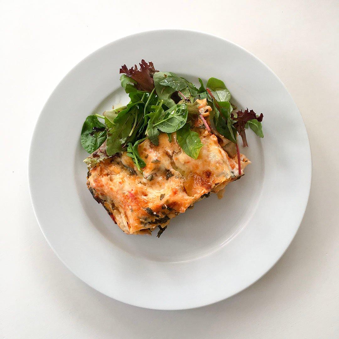 Lasagne med mangold - Vegetariskt recept.