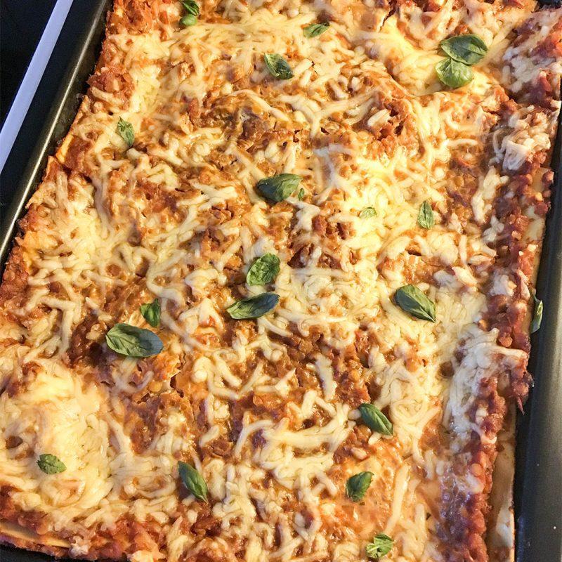 Lasagne med röda linser - Vegetariskt recept på god middag.