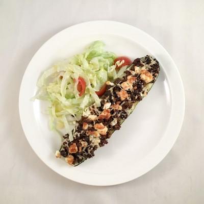 Ugnsbakad zucchini med smakfull köttfärs.