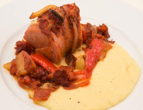 Ugnsstekt falukorv med polentamos är smakfull middag