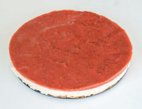Rabarbercheesecake med jordgubbsglasyr