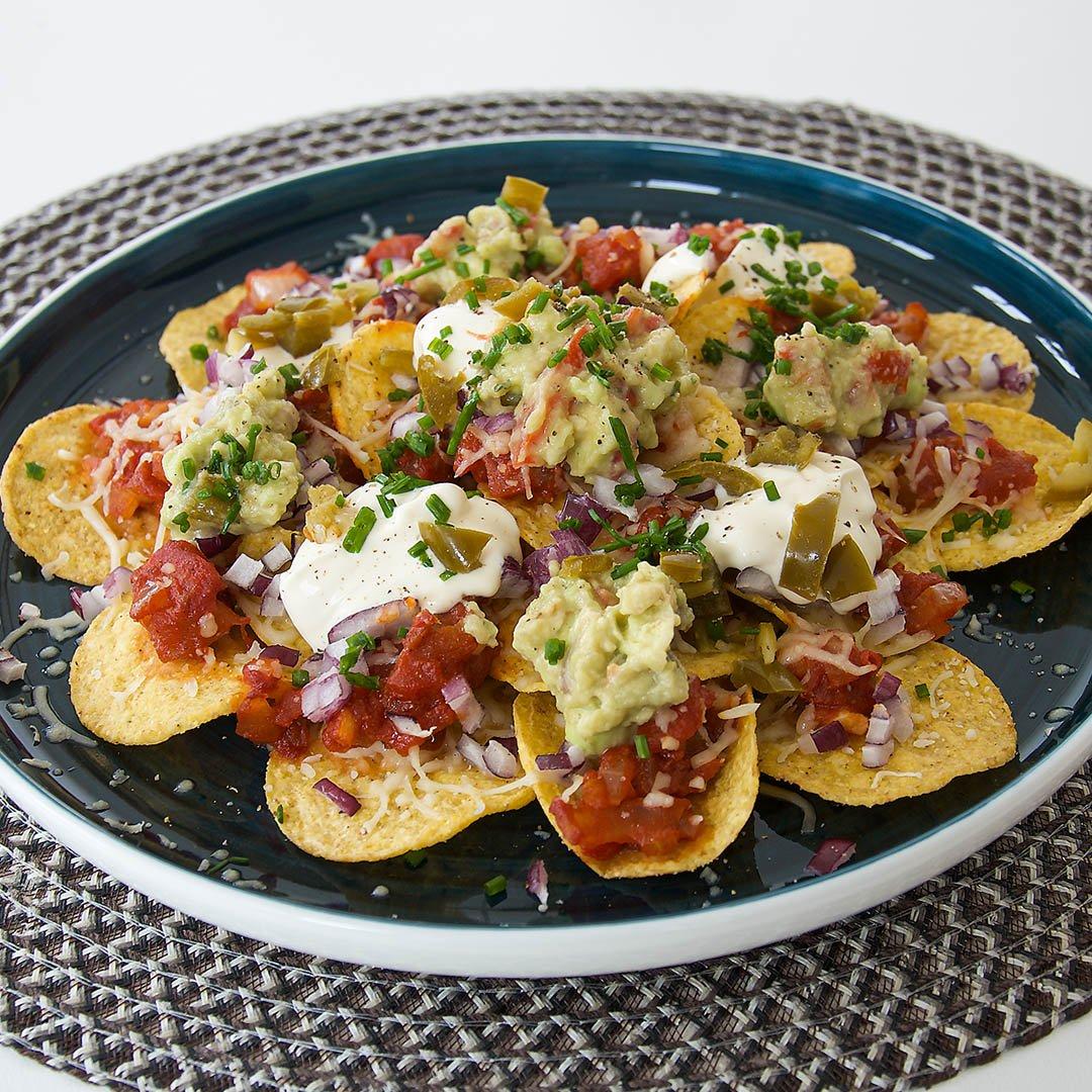 Vegetarisk nachotallrik - Recept på välsmakande middag eller som trevligt snack.